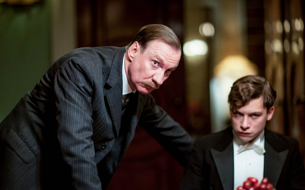 WARNING: Embargoed for publication until 08/09/2015 - Programme Name: An Inspector Calls - TX: 13/09/2015 - Episode: An Inspector Calls (No. n/a) - Picture Shows:  The Inspector (DAVID THEWLIS), Eric Birling (FINN COLE) - (C) BBC/Drama Republic - Photographer: Laurence Cendrowicz