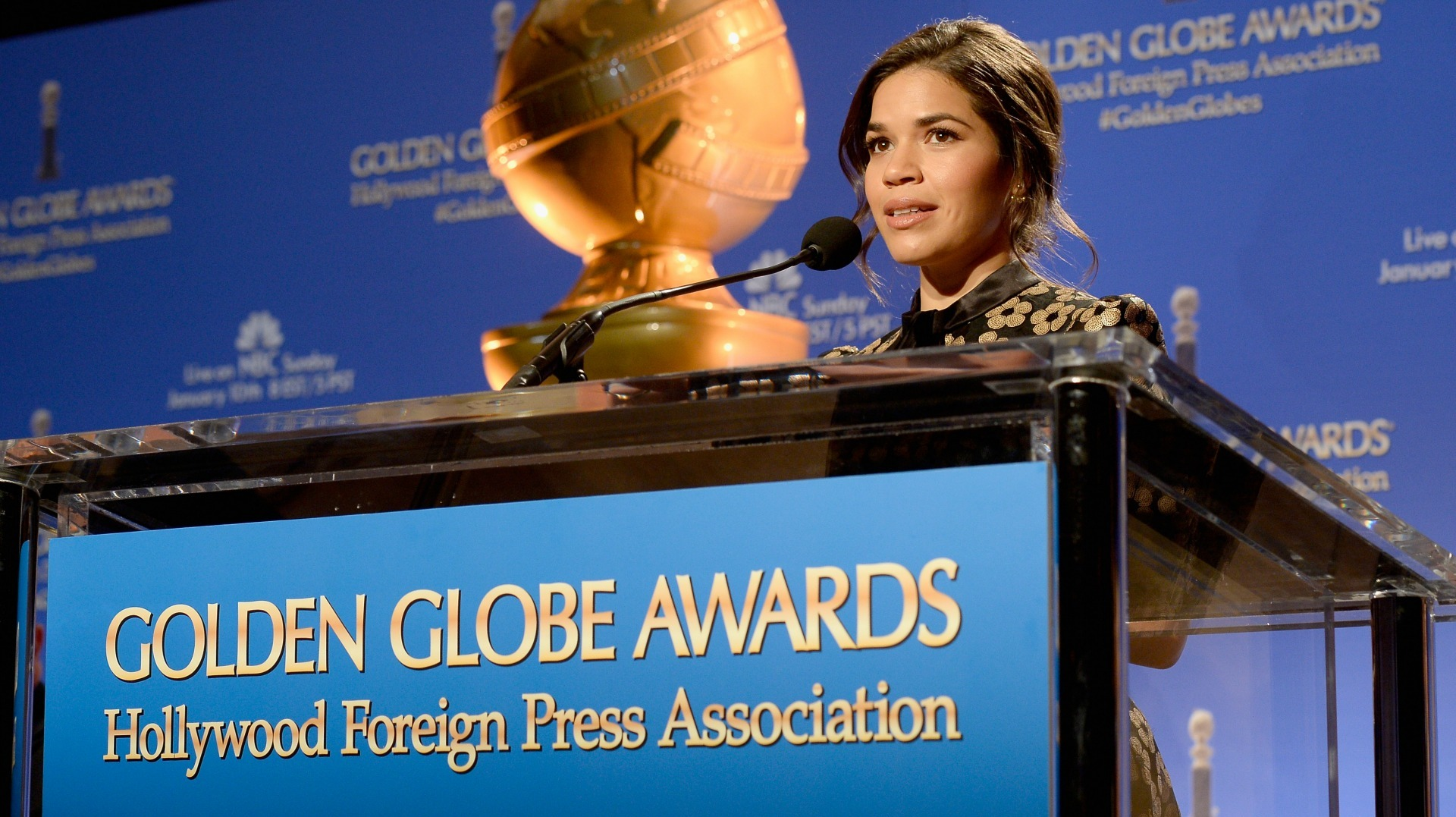 speaks onstage at the 73rd Annual Golden Globe Awards Nominations Announcement at The Beverly Hilton Hotel on December 10, 2015 in Beverly Hills, California.